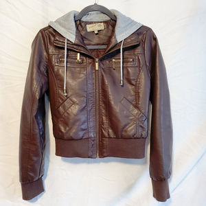 Brown Bomber Jacket with Gray Hood